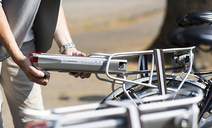 Batterij van elektrische fiets close-up